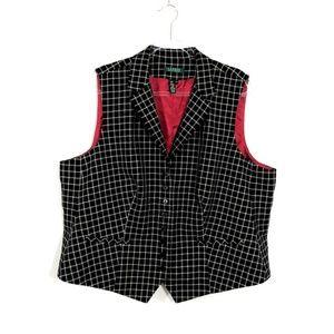 LAUREN Ralph Lauren Black Checkered Wool Vest FB12